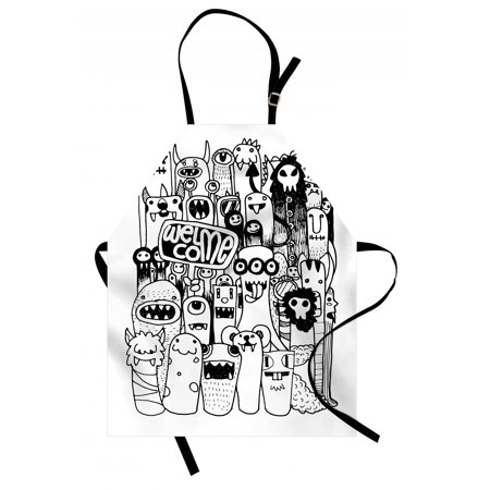 Indie Apron Hand Drawn Doodle Style Cartoon Figures Monsters Welcoming  Community Funny Crazy, Unisex Kitchen Bib Apron with Adjustable Neck for
