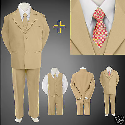 Prom Suit (Boy Kid Teen Formal Wedding Party Prom Khaki Stone Suit Tuxedo + Design Tie)