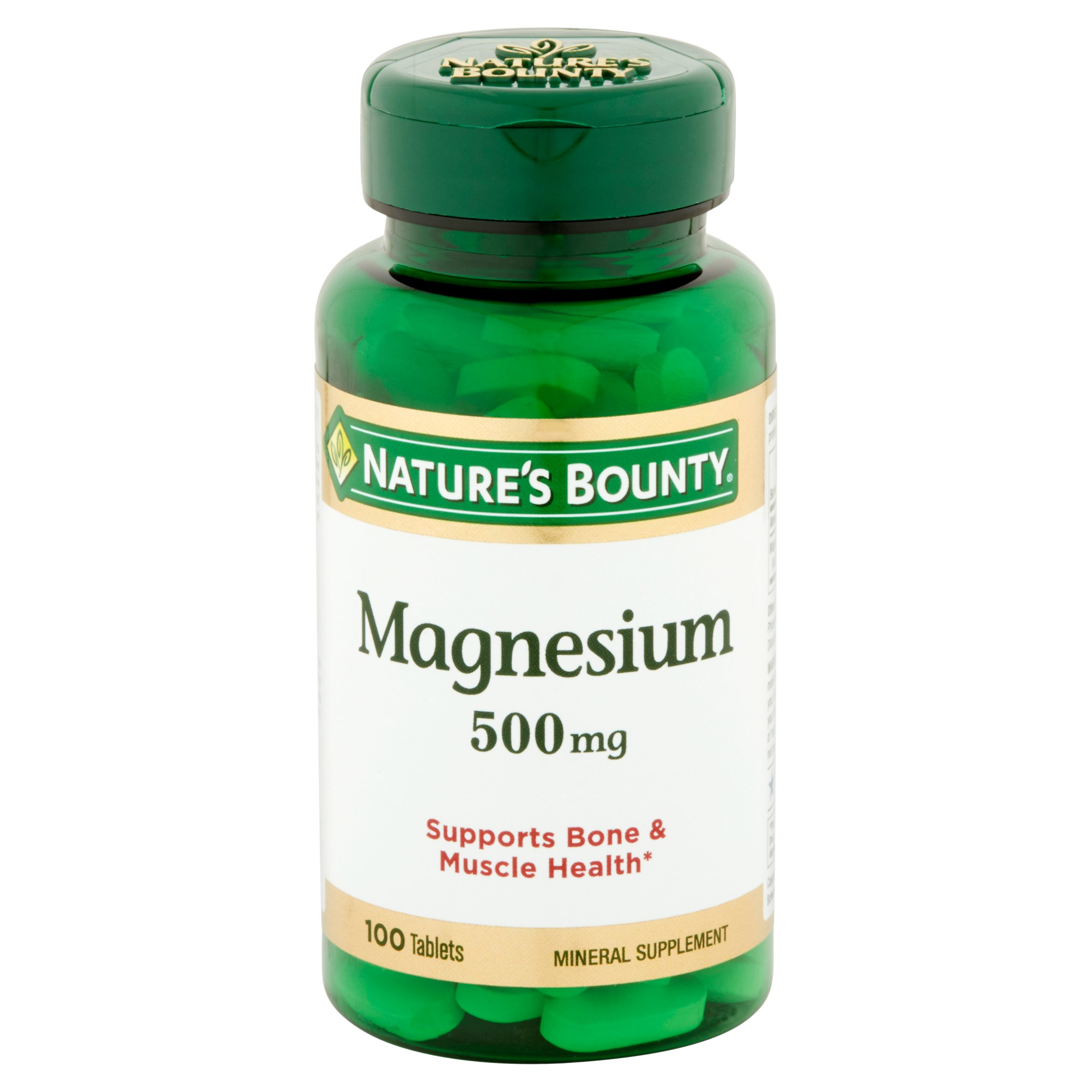(2 Pack) Nature's Bounty Magnesium, Gluten Free, Vegetarian, Mineral Supplement, 500 mg, 100 Coated Tablets