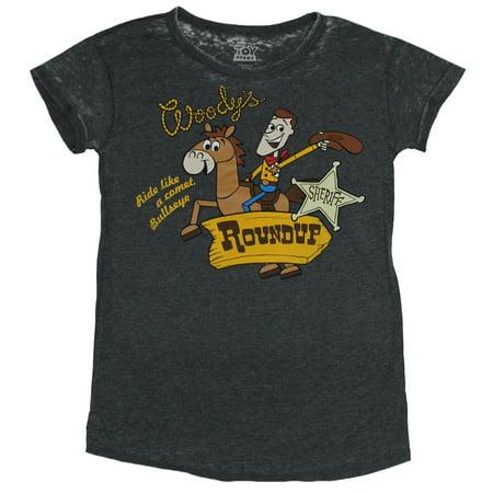 - Toy Story Girls Juniors T-Shirt - Woody's Roundup Woody & Bullseye Image
