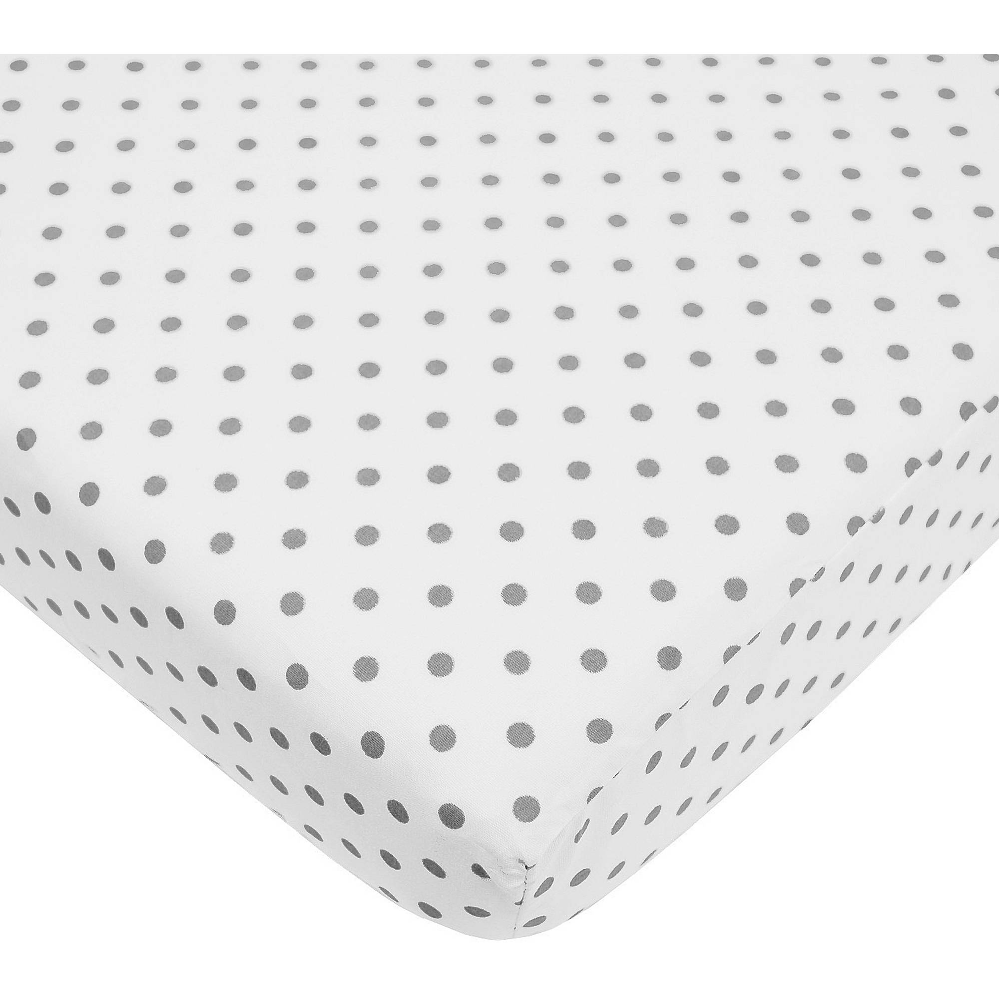 TL Care Cotton Percale Fitted Mini Crib Sheet, White with Grey Dot