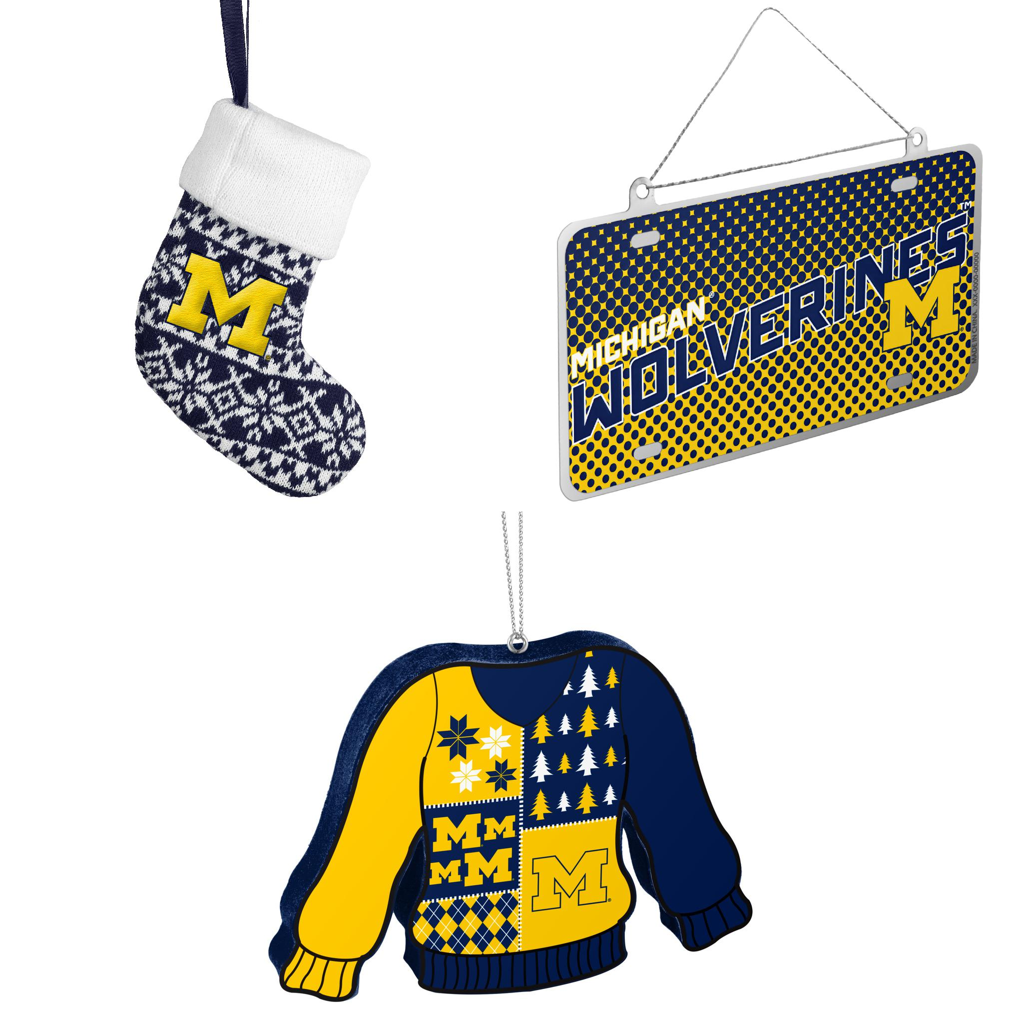 NCAA Michigan Wolverines ORNAMENT STOCKING KNIT Metal License Plate Christmas Ornament Foam Ugly Sweater Bundle 3 Pack By Forever Collectibles