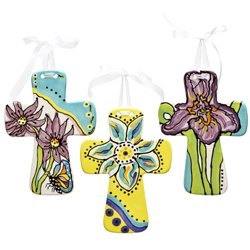 Thompson and Elm Dana Wittman Coastal 3 Piece Coastal Handpainted Ceramic Cross Set