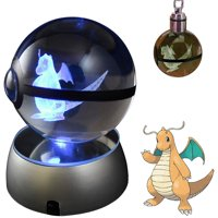 Baken 3D Crystal Ball LED Night Light with LED Keychain Laser Engraving (Dragonite)