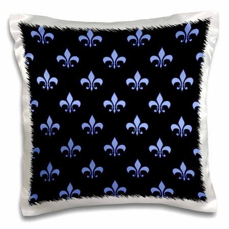 3dRose Blue Fleur de lis on a black background Christian symbol , Pillow Case, 16 by 16-inch Blue Enamel Fleur De Lis