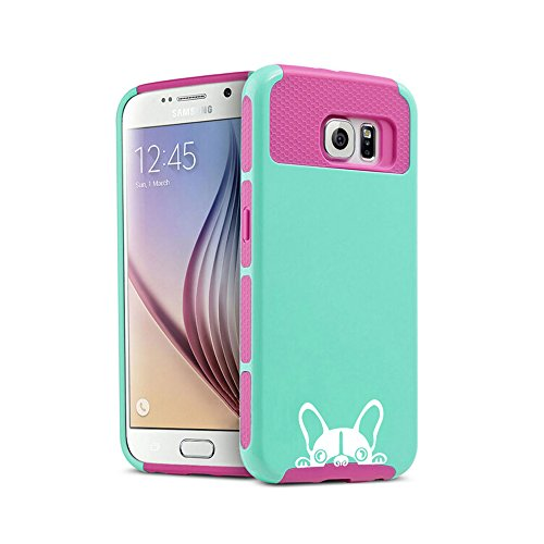 Samsung Galaxy (S6 Edge) Shockproof Impact Hard Soft Case Cover Peeking French Bulldog Frenchie Face (Teal-Hot Pink)
