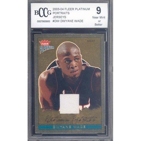 (2003-04 fleer platinum portraits jerseys #dw DWYANE WADE rookie BGS BCCG 9)