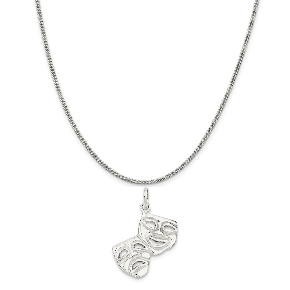Sterling Silver Comedy/Tragedy Charm on a Sterling Silver Curb Chain Necklace, 16""