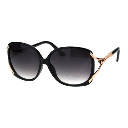 - Womens Oversize Designer Fashion Diva Butterfly Jewel Chic Sunglasses Black Smoke