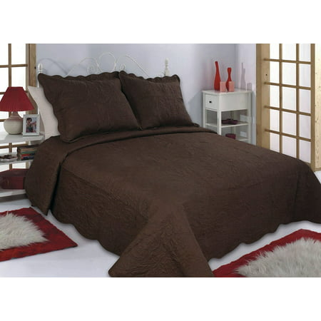 All for You 3pc Reversible Quilt Set, Bedspread, or Coverlet-4 different sizes-Brown/Chocolate color ( full/queen 86