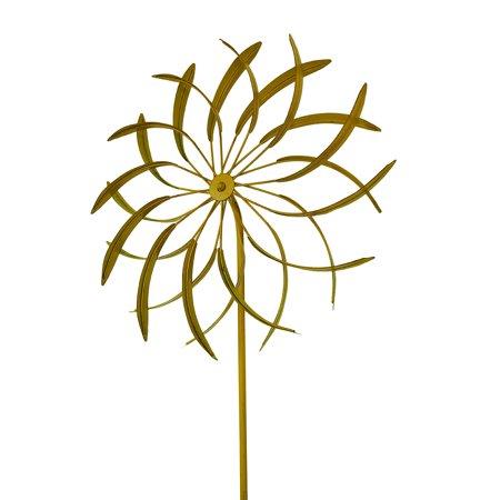 18 in. Metal Garden Stake Flower Wind Spinner Sculpture ()