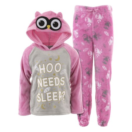 dELiA*s Girls Hoo Needs Sleep Pink Hooded Pajamas (Womens Hook)