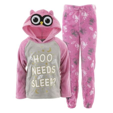 dELiA*s Girls Hoo Needs Sleep Pink Hooded Pajamas (Big Hobo)