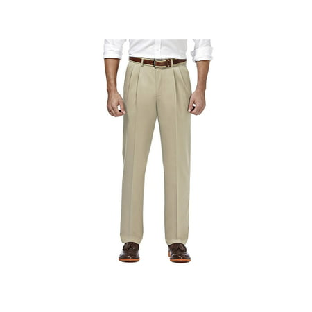 Haggar Men's Premium No Iron Khaki Pleat Front Pant Classic Fit HC10897 Classic Fit Pleated Khaki