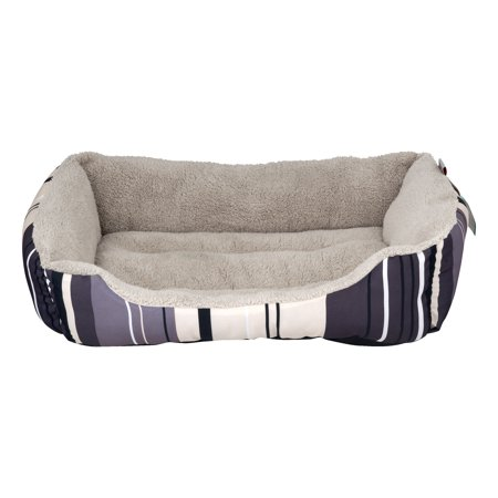 ASPCA Striped Cuddler Dog Bed, Gray, Medium, 28