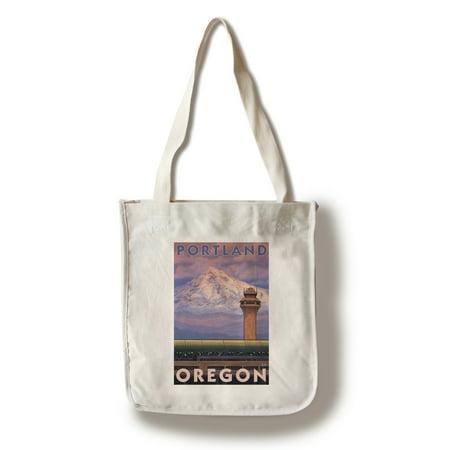 Portland, OR Airport - Lantern Press Original Poster (100% Cotton Tote Bag - Reusable)