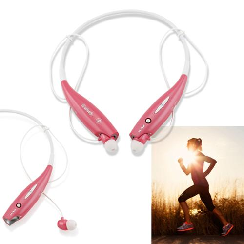 Wireless Stereo Bluetooth Sports Workout Gym Headset Neckband Earphone Earbuds Headphones for Cellphones iPhone Samsung Galaxy -Pink
