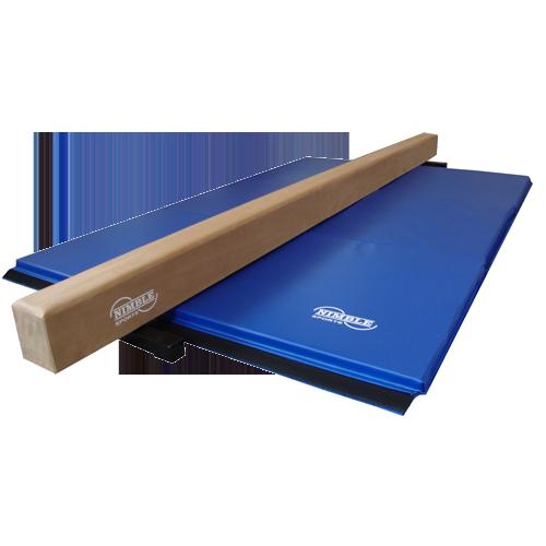 Tan Low Balance Beam and Blue Folding Gymnastics Mat by Nimble Sports