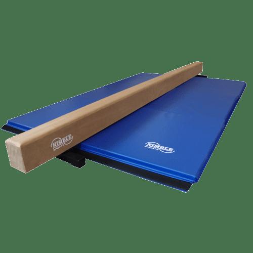 Tan Low Balance Beam and Blue Folding Gymnastics Mat