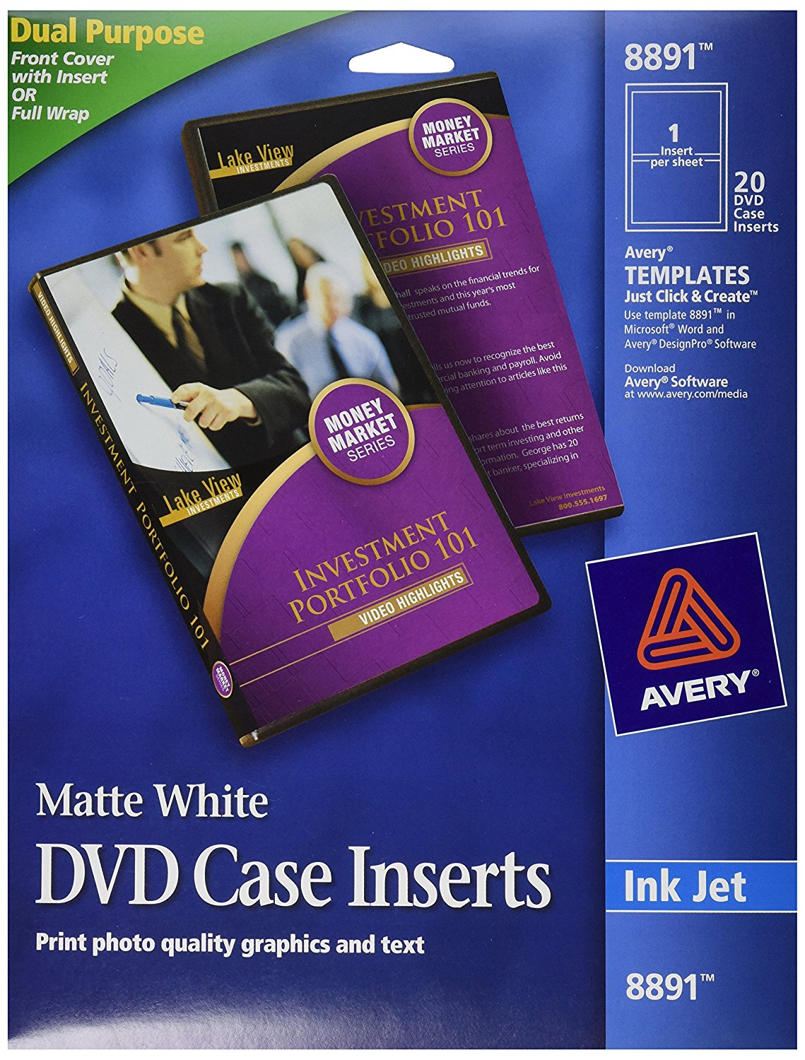 8891 Inkjet DVD Case Inserts, Matte White (Pack of 20), CD DVD jewel case inserts for inkjet printers. By Avery From USA by Avery
