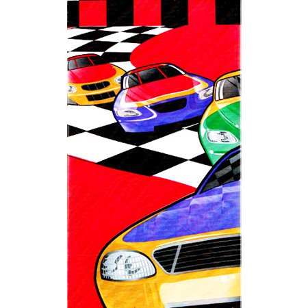 Racing 'Checkered Flag' Red Plastic Table Cover (1ct)
