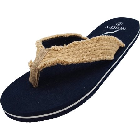 6e978f4bd NORTY Mens Lightweight Canvas Strap Thong Flip Flop Everyday Beach Pool  Sandal - Runs 1