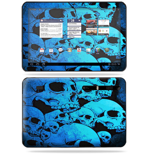 Mightyskins Protective Vinyl Skin Decal Cover for Motorola Xoom Tablet wrap sticker skins Blue Skulls