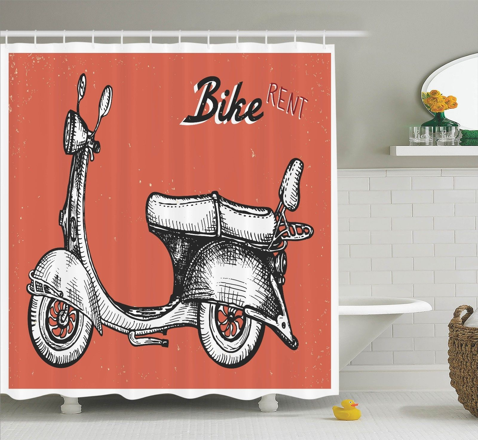 Vintage Decor  Retro Scooter Sign For Bike Bicycle Rent C...