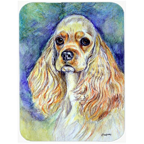 Blonde Tan Cocker Spaniel Glass Cutting Board Large by Caroline's Treasures
