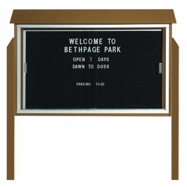 Aarco Products  Inc. PLDS3045LDPP-8 Weathered Wood Sliding Door Plastic Lumber Message Center with Letter Board - Posts Included - 30 in.H x 45 in.W