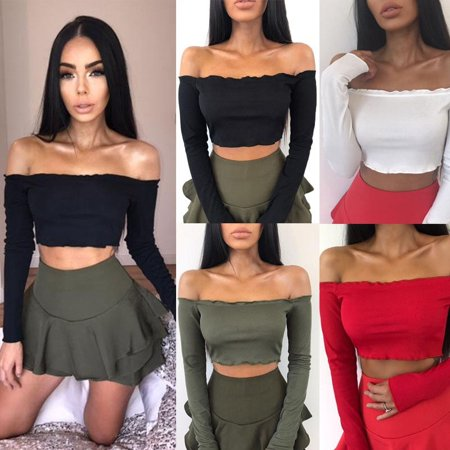Sexy Womens Off Shoulder Shirt Crop Tops Long Sleeve Blouse Jumper Vest Cami Tank Top