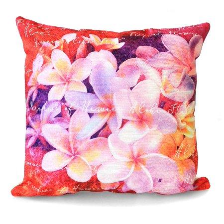 Hawaii Hangover Cotton Linen Hawaiian Tropical Print Pillow Case Cover in Plumeria (Hawaiian Linen)