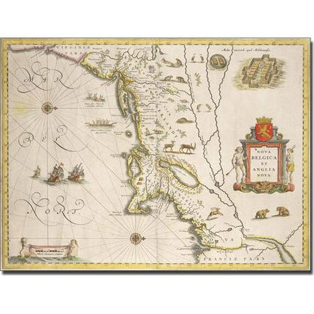 Trademark Art 'Map of New Belgium and New England' Canvas Art by Joan Blaeu