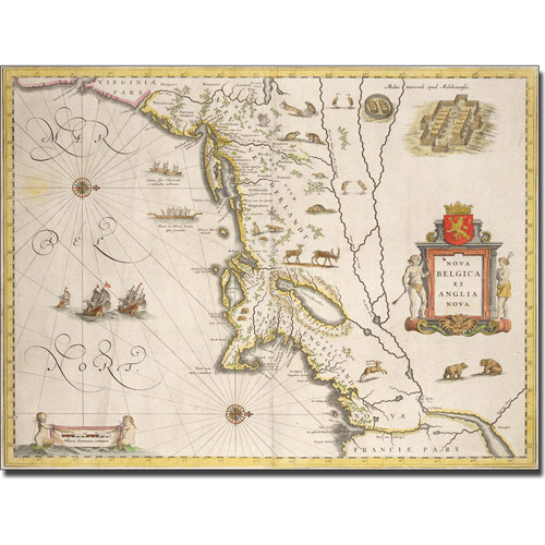 Trademark Art 'Map of New Belgium and New England' Canvas Art by Joan Blaeu