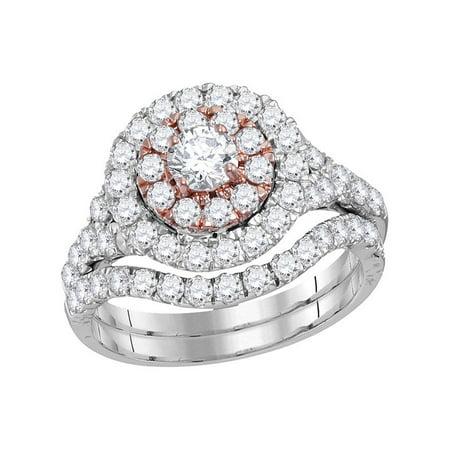 14kt White Gold Womens Round Diamond Double Halo Bridal Wedding Engagement Ring Band Set 2-1/3 Cttw - image 1 de 1
