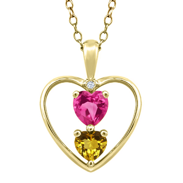 0.77 Ct Heart Shape Pink Mystic Topaz Yellow Citrine 18K Yellow Gold Pendant by