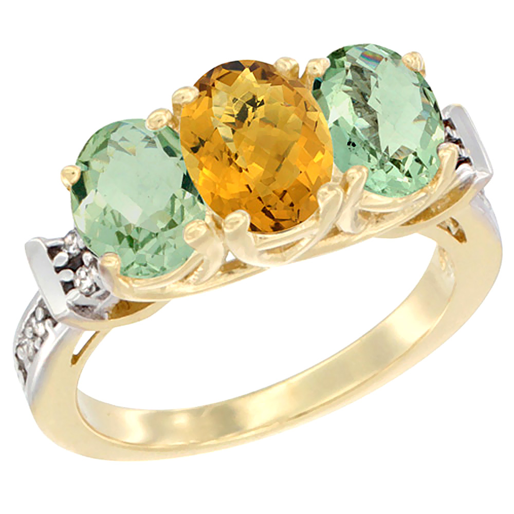 10K Yellow Gold Natural Whisky Quartz & Green Amethyst Sides Ring 3-Stone Oval Diamond Accent, sizes 5 10 by WorldJewels