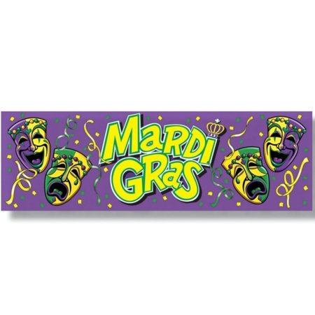 """Club Pack of 12 Purple, Green and Yellow """"Mardi Gras'sign Banner Party Decorations 5'"""