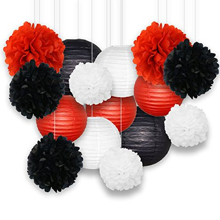 Just Artifacts Decorative Paper Party Pack (15pcs) Paper Lanterns and Pom Pom Balls - Black/White/Reds - Perfect for Birthday Parties, Baby Showers, Weddings and Life Celebrations! - Party Lanterns