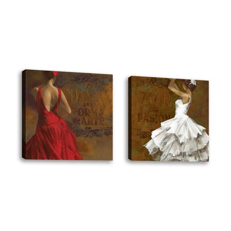 Set of 2 - La Dance II - Contemporary Fine Art Giclee on Canvas Gallery Wrap - wall décor - Art painting - 36 x 24 Inch - Ready to Hang