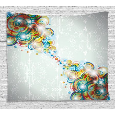 Abstract Decor Tapestry, Modern Rainbow Like Wavy Circled Bright Patterned Disco Themed Artwork, Wall Hanging for Bedroom Living Room Dorm Decor, 60W X 40L Inches, Multi Colored, by Ambesonne - Disco Theme