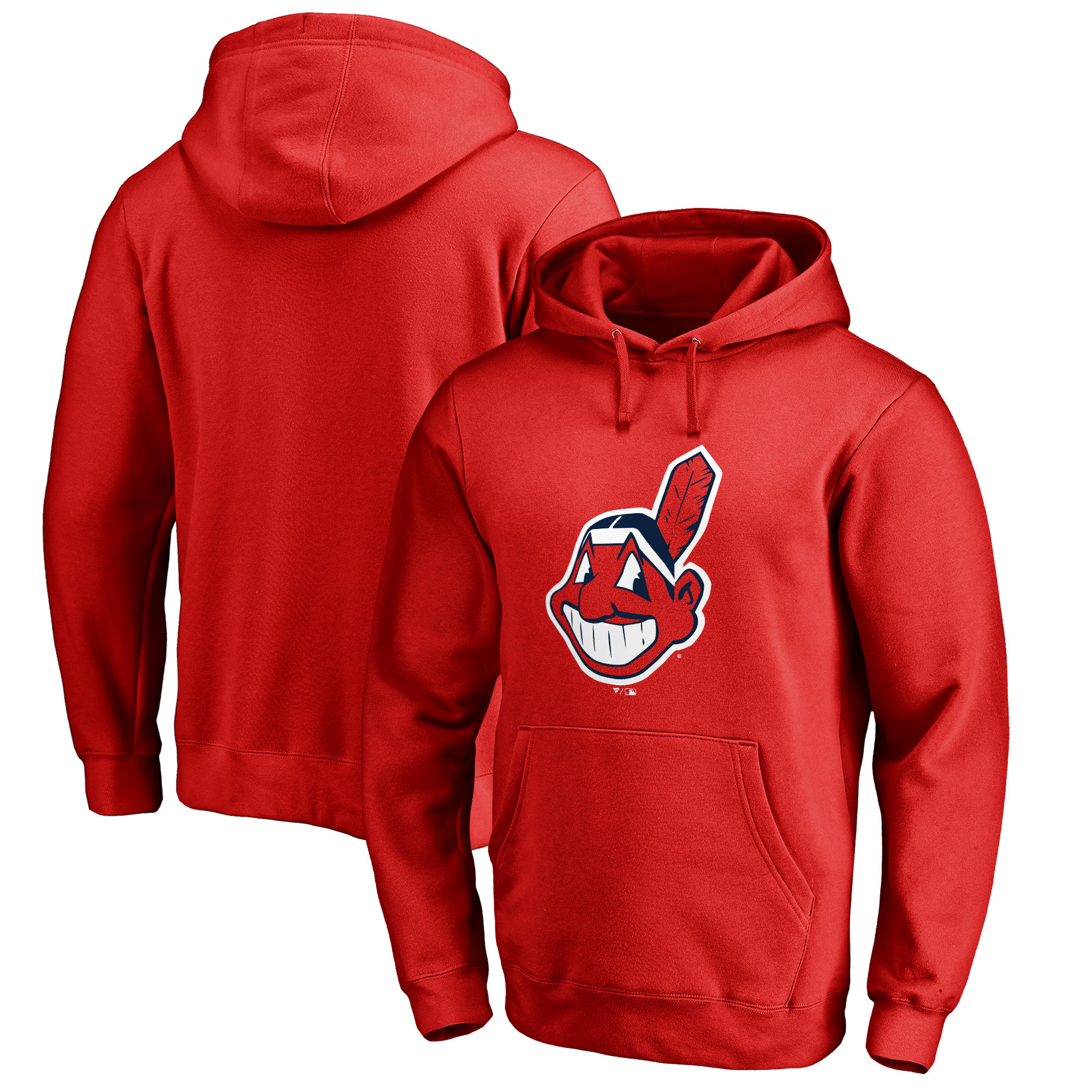 Men's Fanatics Branded Red Cleveland Indians Primary Logo Big & Tall Pullover Hoodie