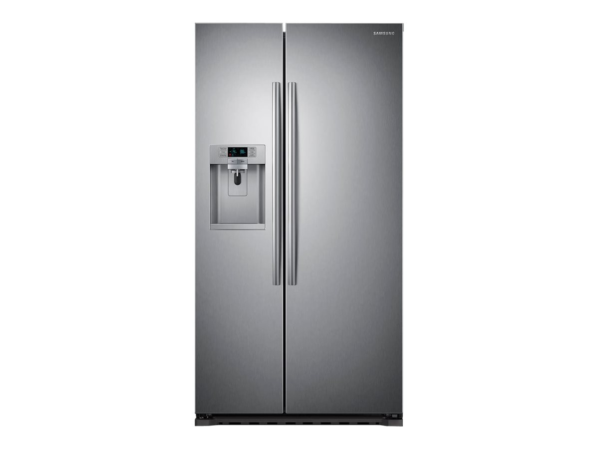 Samsung RS22HDHPNSR - Refrigerator/freezer - side-by-side with water dispenser, ice dispenser - freestanding - width: 35.7 in - depth: 29.5 in - height: 69.3 in - 22.3 cu. ft - stainless steel