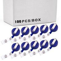 100PCS Retractable BLUE Badge Reel With Belt Clip For Key IDs