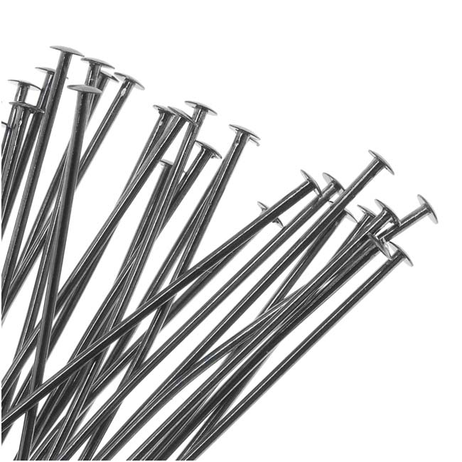 Gun Metal Plated Head Pins 2 Inches/21 Gauge (50)