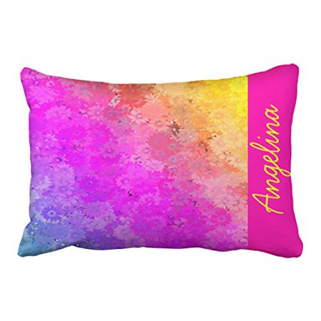 Winhome Por Bright Abstact Pink Gold Neon Fl Monogram Polyester 20 X 30 Inch Rectangle Throw