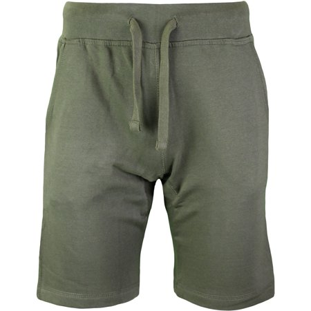 mens lifestyle fleece jogger shorts athletic fit hipster hip hop (military green, m) (Athletic Fleece Shorts)