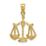 14k Solid Textured Polished Gold Large Libra Zodiac Pendant Necklace Jewelry Gifts for Women