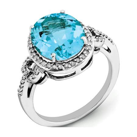Sterling Silver Rhodium Checker-Cut Blue Topaz & Diamond Ring - image 2 of 2