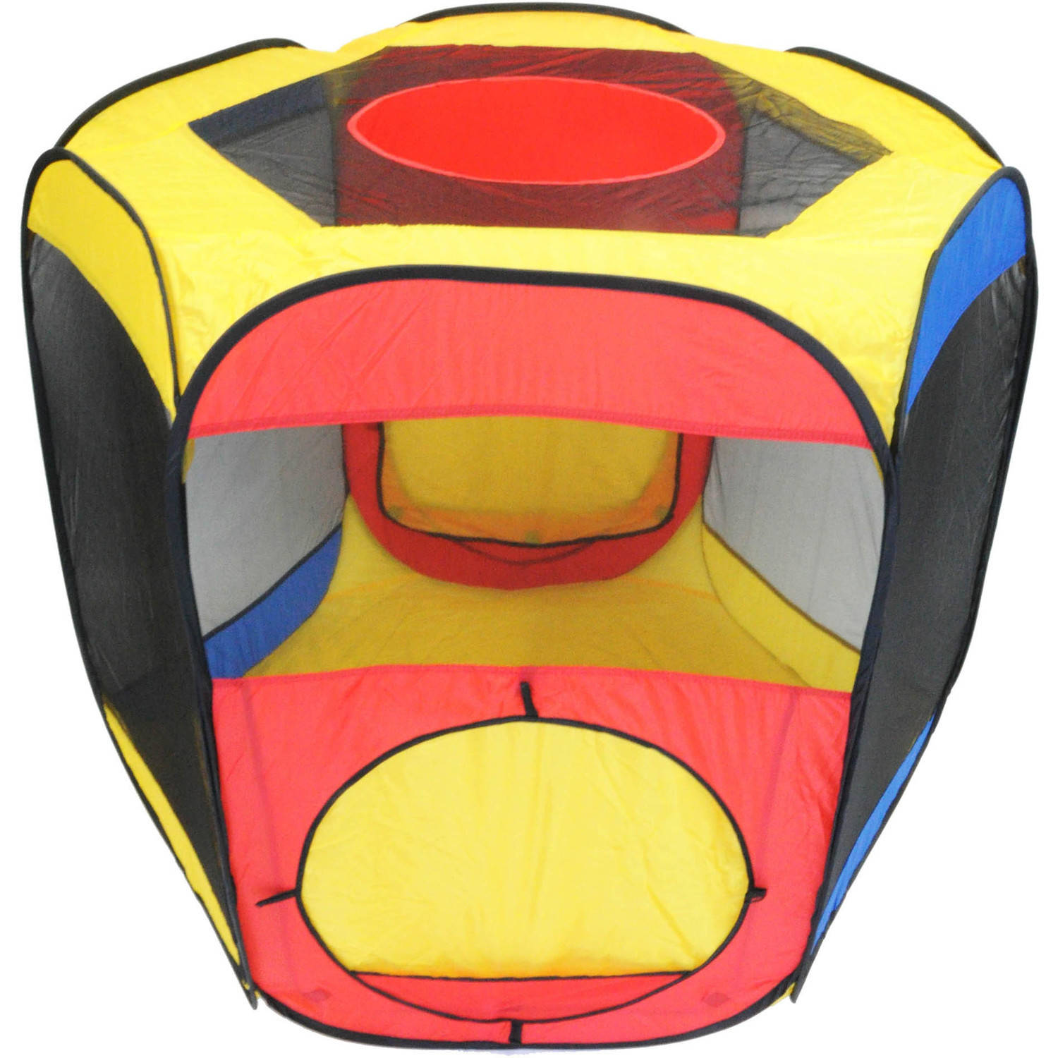 Six-Sided Hexagon Twist Play Tent with Ball Stopper and Safety Meshing for Child Play Visibility